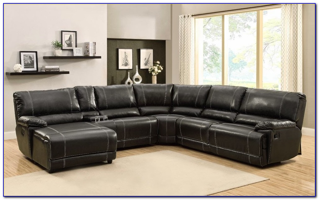 Black Leather Sectional Sofa With Recliners