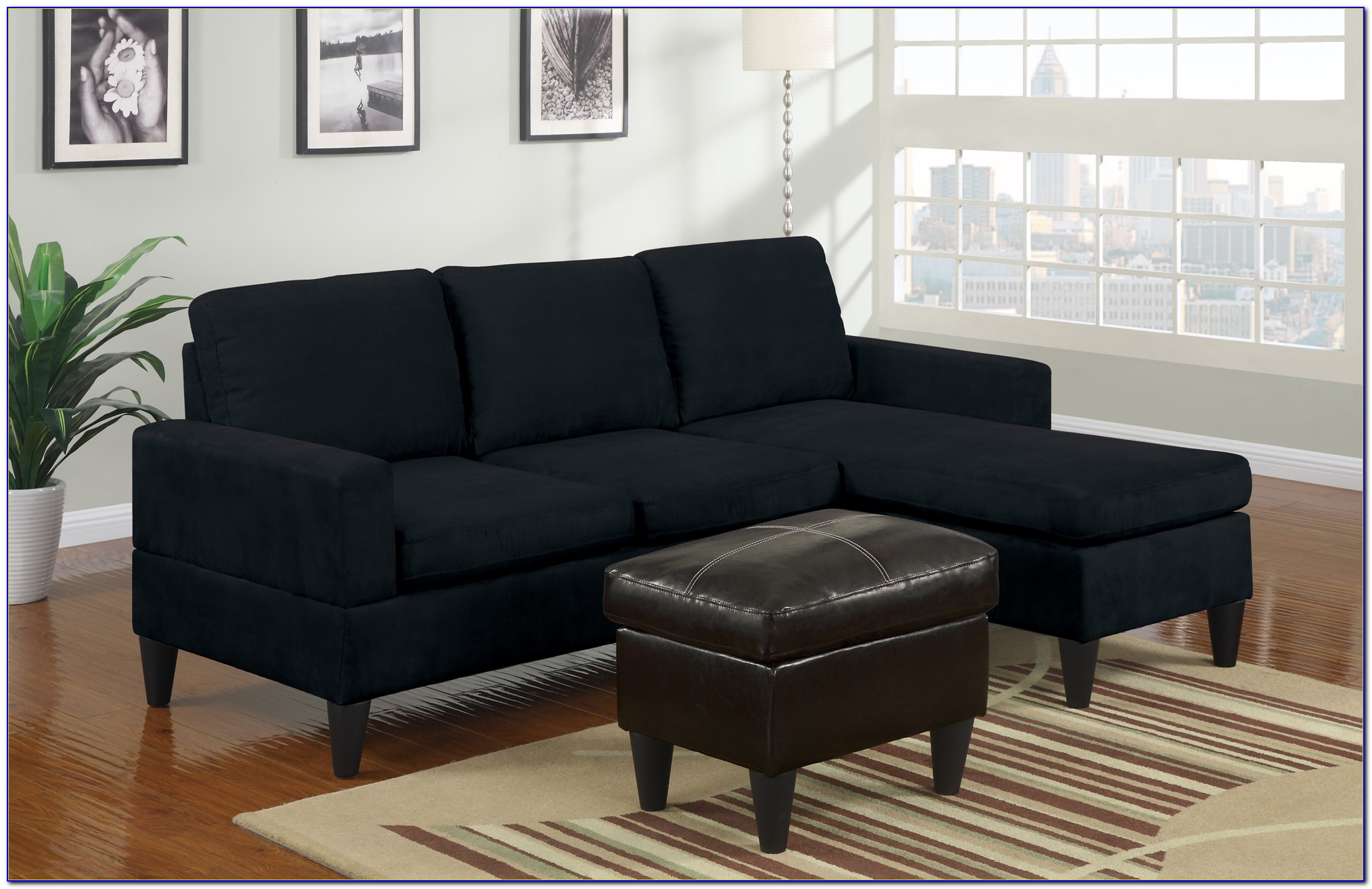 Black Microfiber Sectional Couches