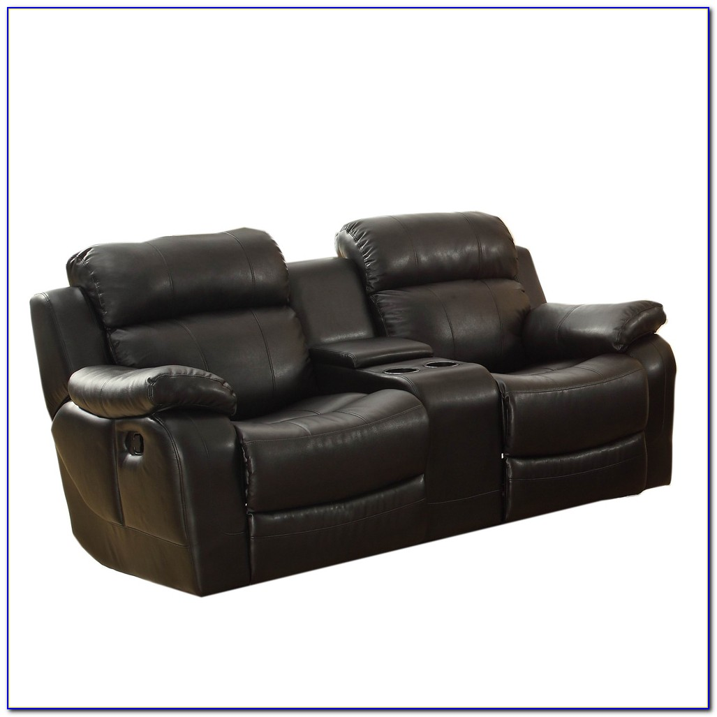 Black Reclining Sofa With Console