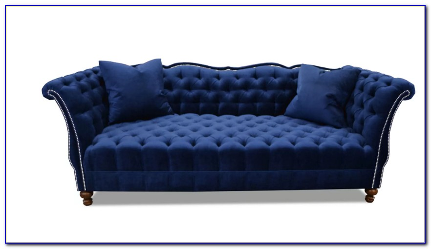 Blue Velvet Tufted Couch Urban Outfitters