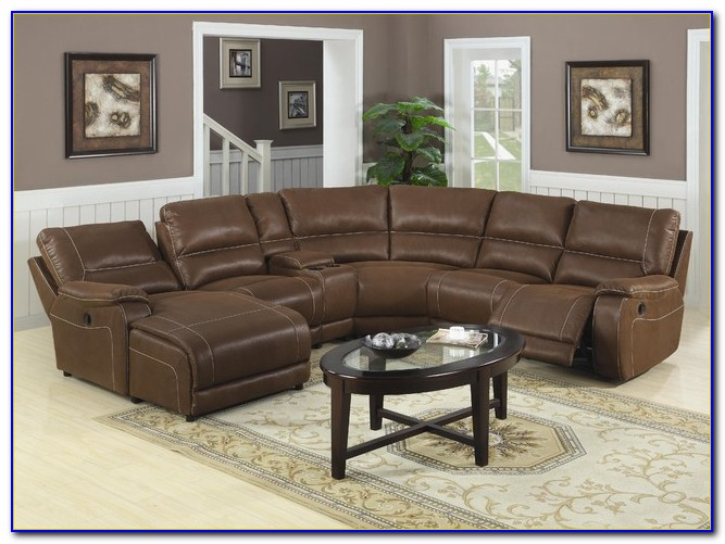 Brown Leather Sectional Recliner Sofa