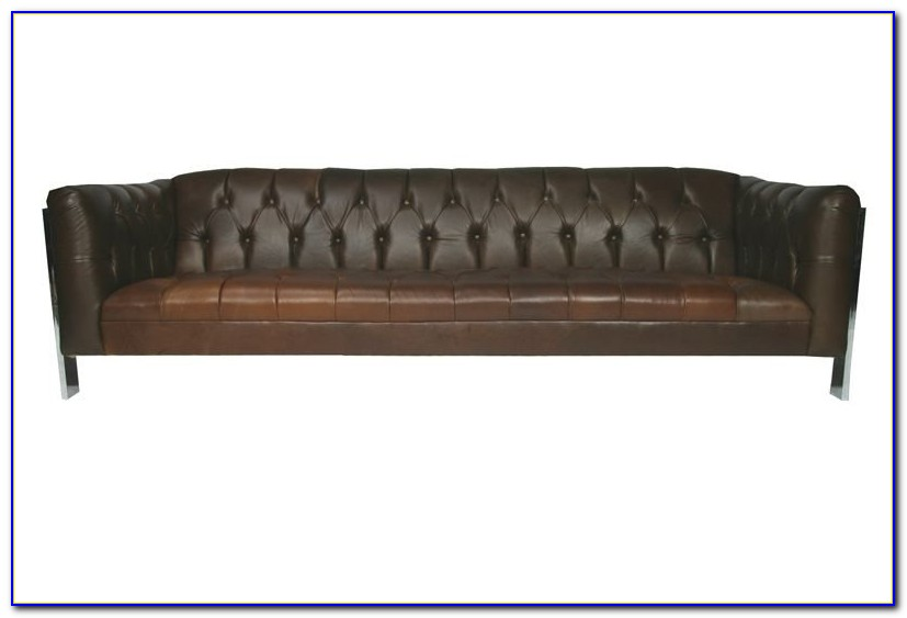 Brown Leather Tufted Couch