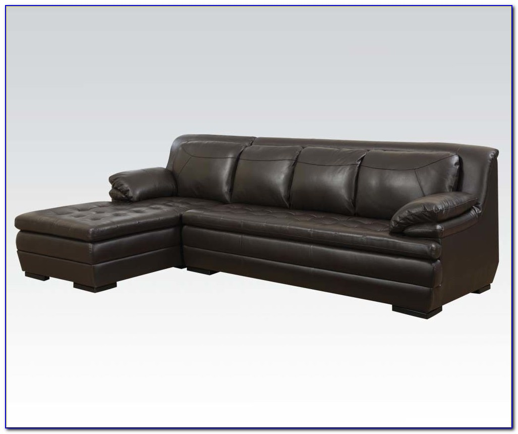 Brown Leather Tufted Sectional Sofa