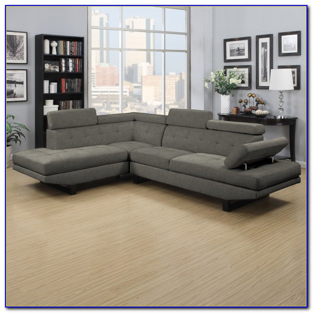 Charcoal Grey Leather Sectional Sofa