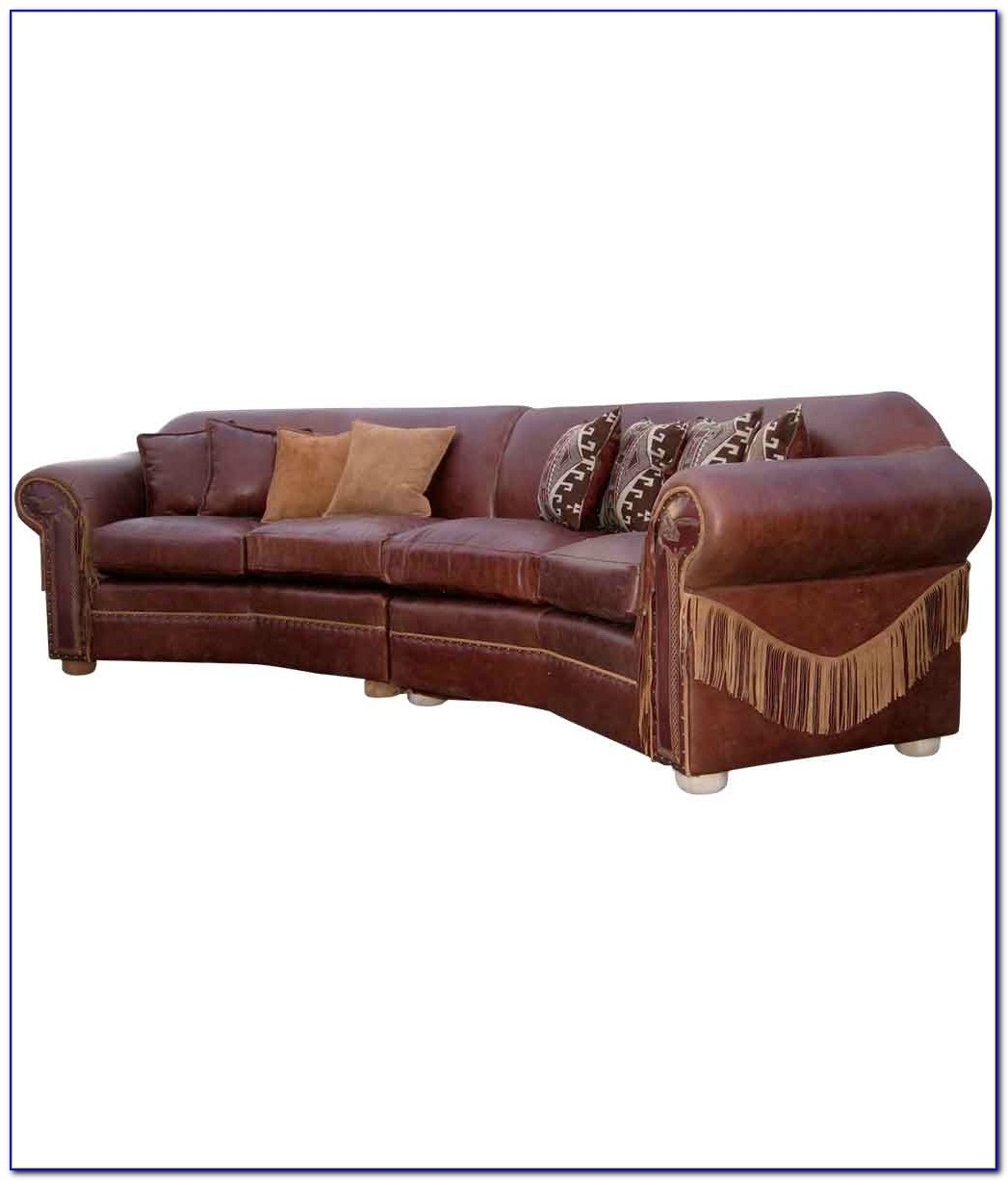 Curved Espresso Leather Sectional Sofa