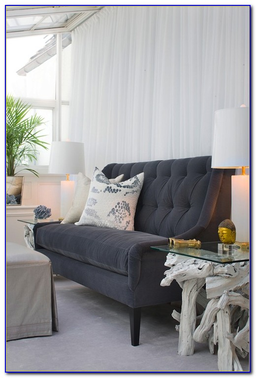 Dark Grey Velvet Tufted Sofa