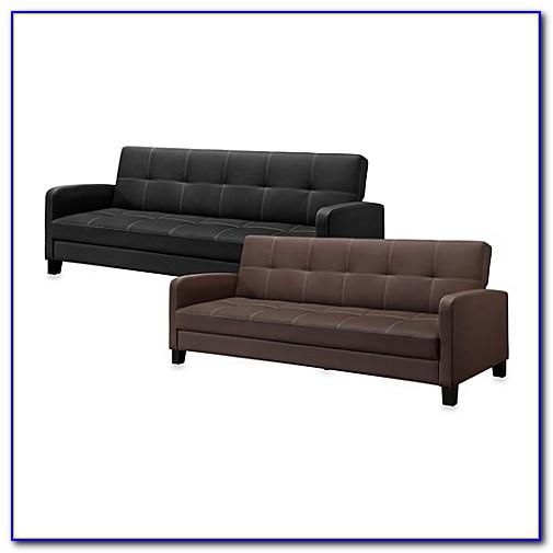 Faux Leather Sleeper Sofa Brown