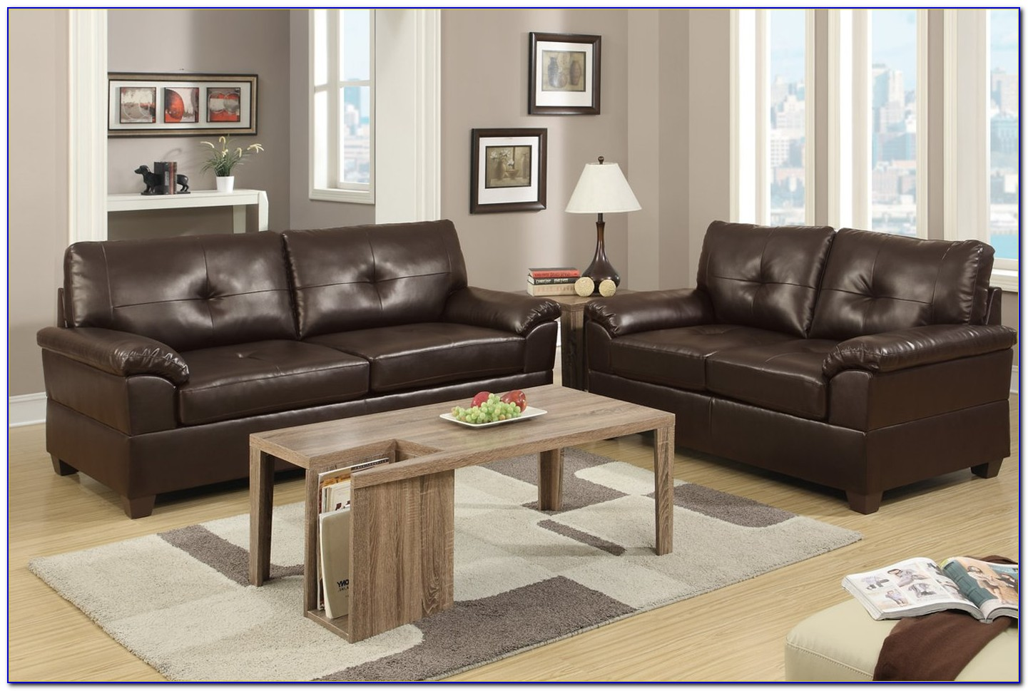 Faux Leather Sofa And Loveseat Set