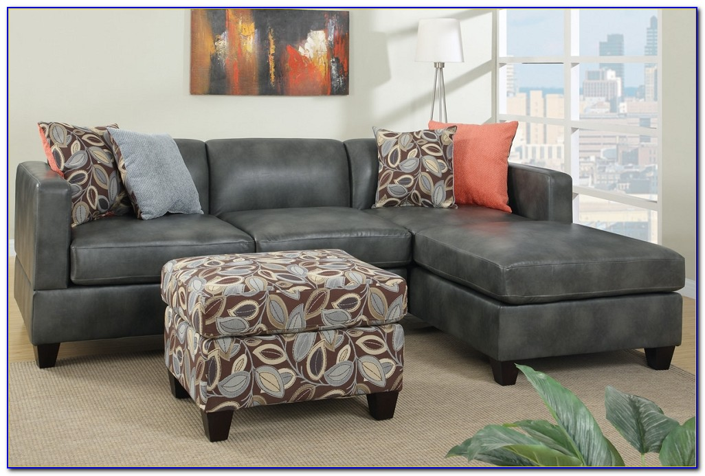 Gray Leather Sectional Sofa With Chaise