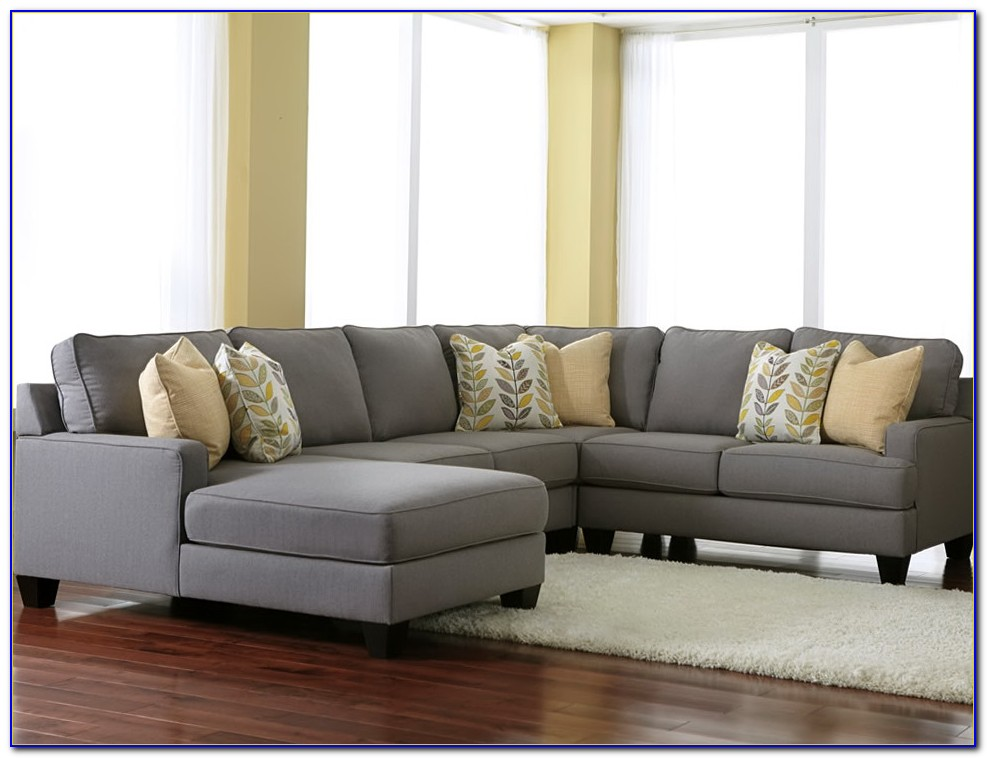 Gray Microfiber Sectional Sofa With Chaise