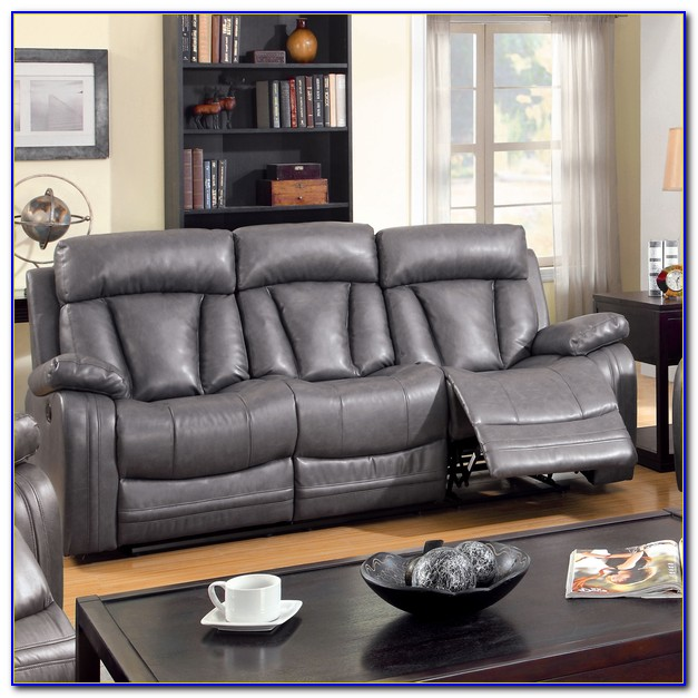Grey Bonded Leather Reclining Sofa