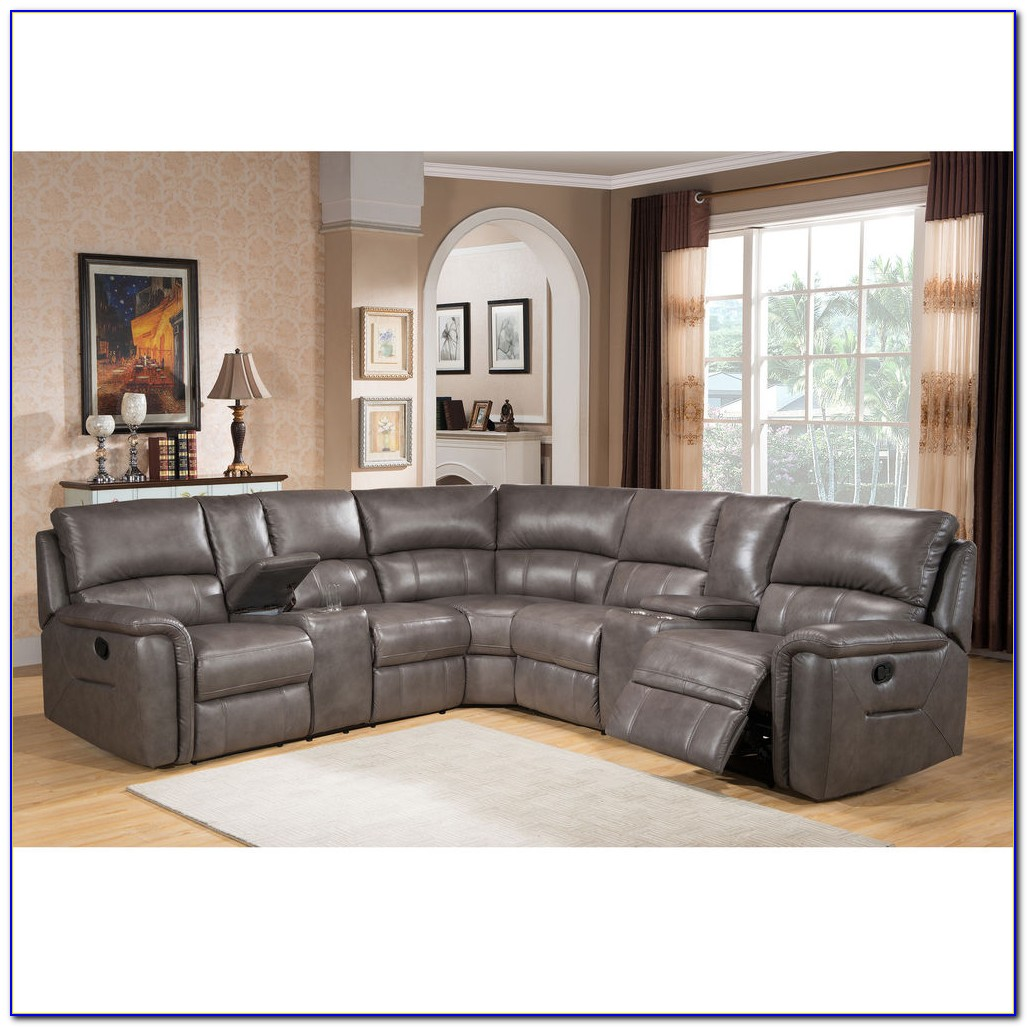 Grey Leather Recliner Corner Sofa