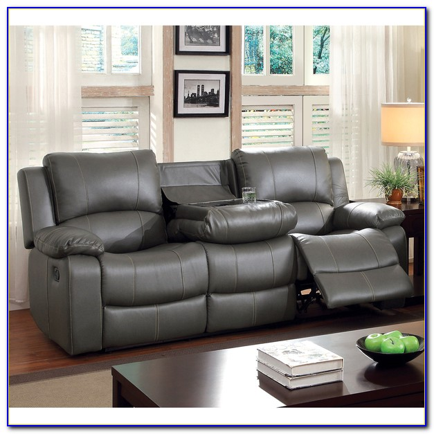 Grey Leather Sectional Recliner Sofa