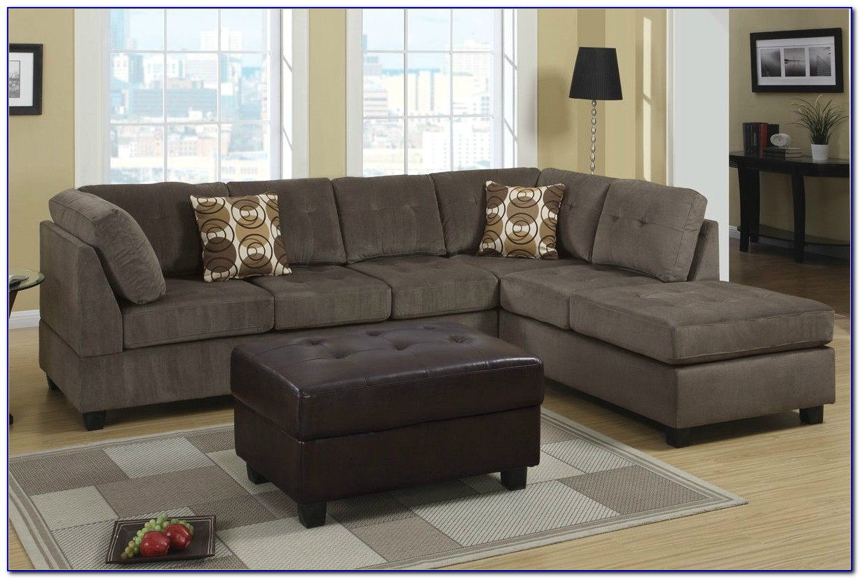 Grey Microfiber Sectional Sofa Bed
