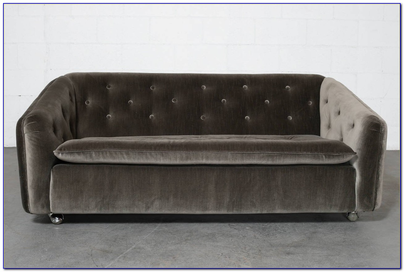 Grey Velvet Tufted Couch