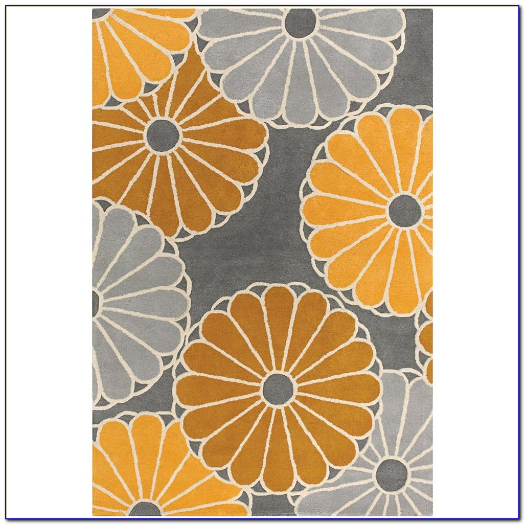 Grey Yellow Geometric Rug