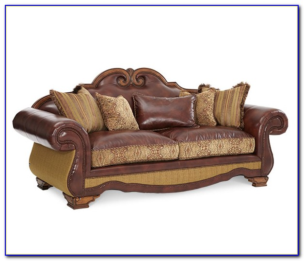 Leather And Fabric Sofa Dfs