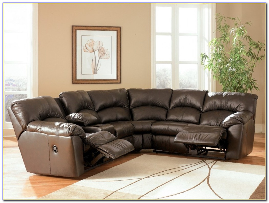 Leather Sectional Sofa With Two Recliners