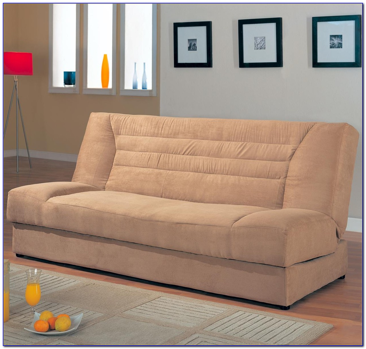 Meridian Microfiber Convertible Sofa With Storage
