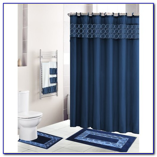 Navy Blue Plush Bathroom Rugs