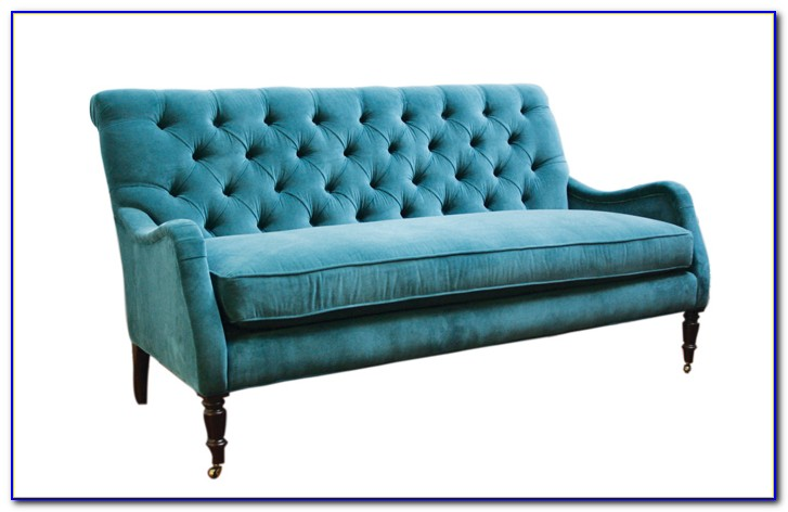 Navy Blue Velvet Tufted Sofa