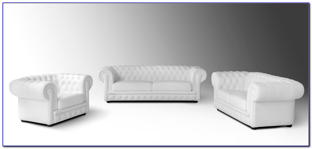 Off White Leather Tufted Sofa