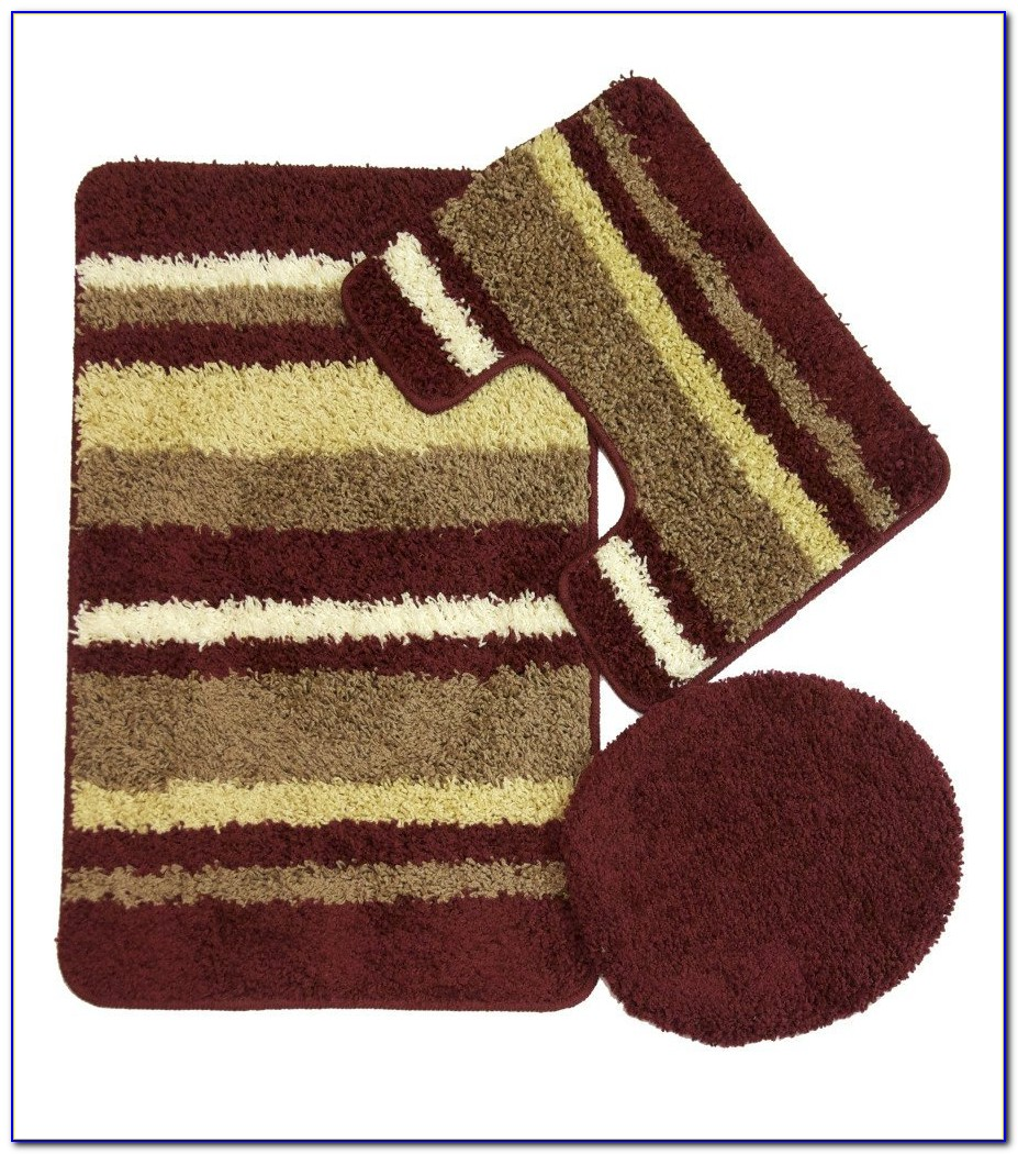 Plush Burgundy Bathroom Rugs