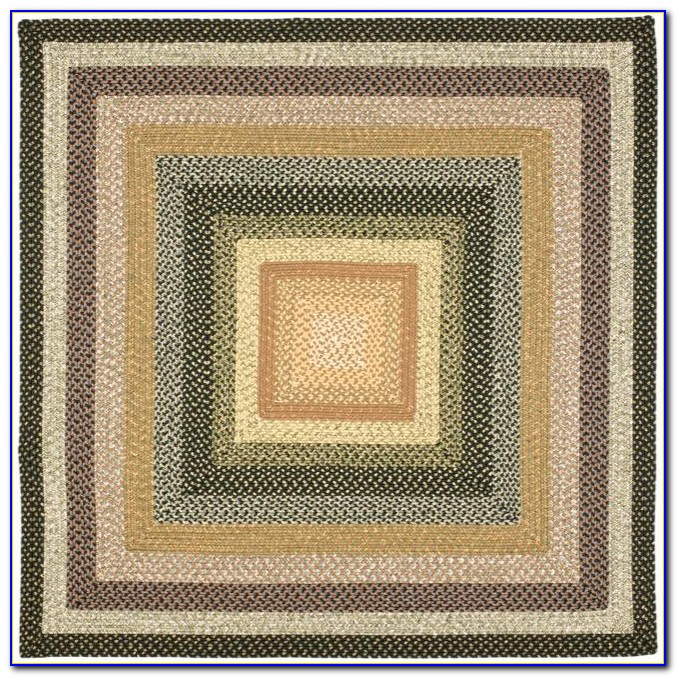 Square Braided Rugs Green