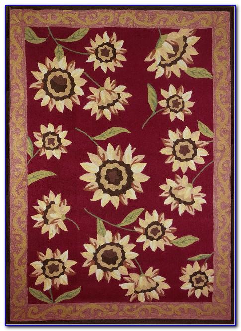 Sunflower Print Area Rug