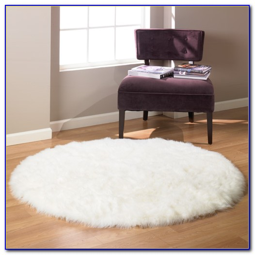 White Faux Fur Rug 5x7