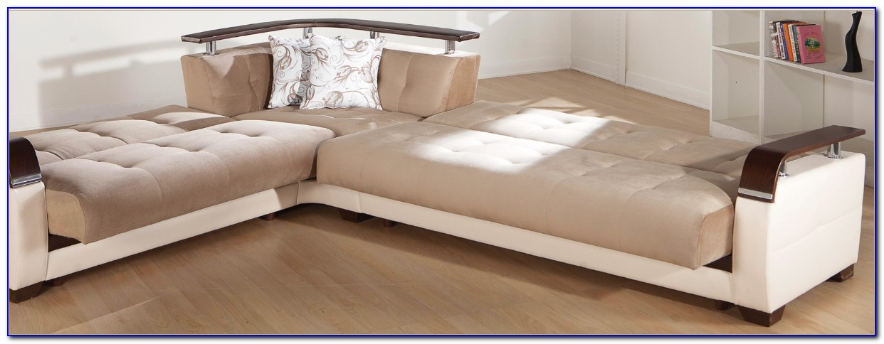 White Leather Contemporary Sectional Sofa Sleeper With An Ottoman
