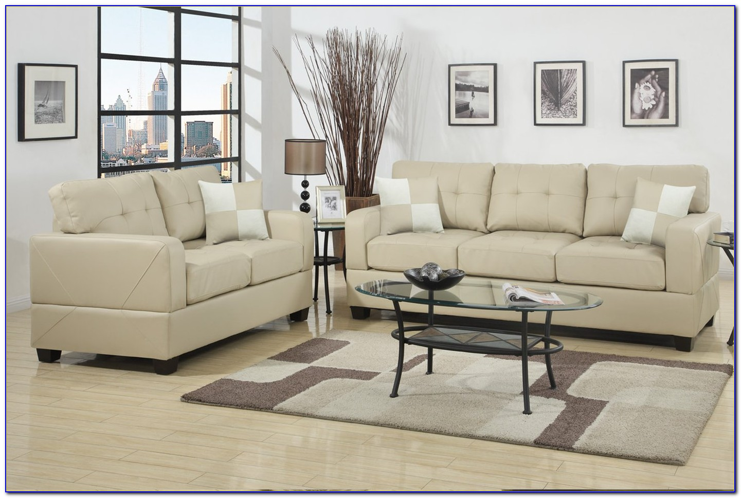 White Leather Sofa And Loveseat Set