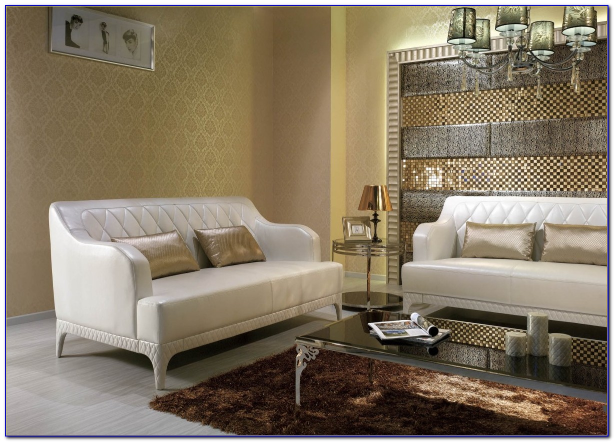 White Tufted Faux Leather Couch