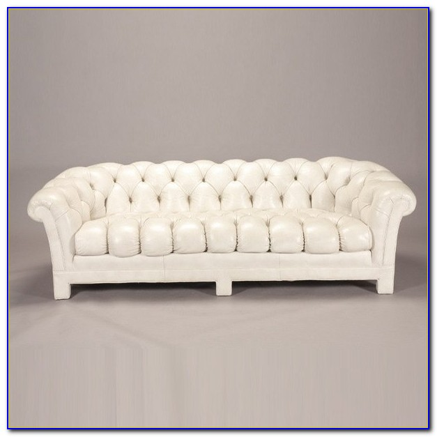 White Tufted Leather Couch
