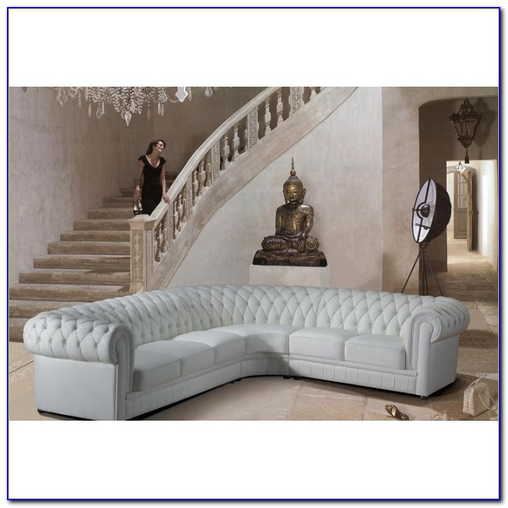 White Tufted Leather Sectional Sofa