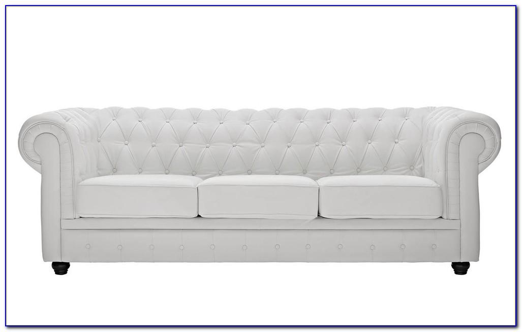 White Tufted Leather Sofa Set