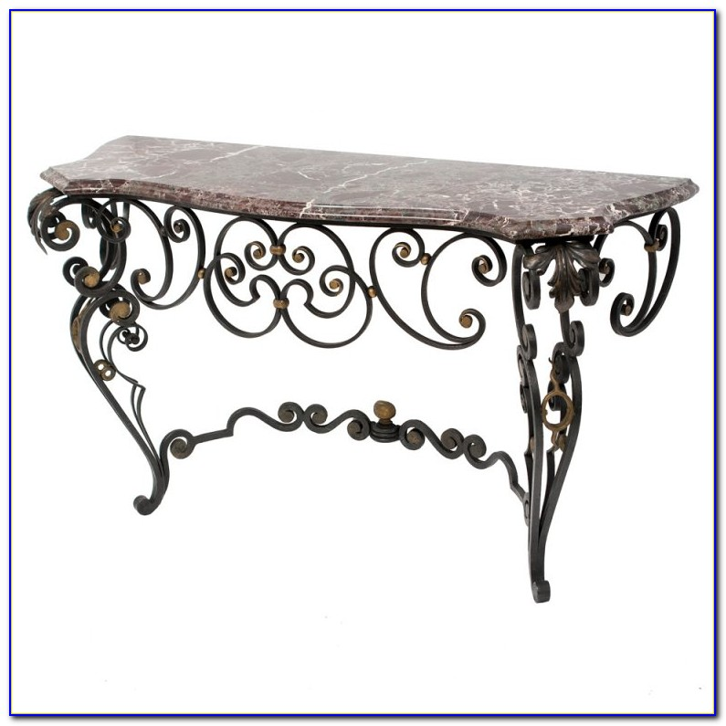 Wrought Iron And Slate Sofa Table