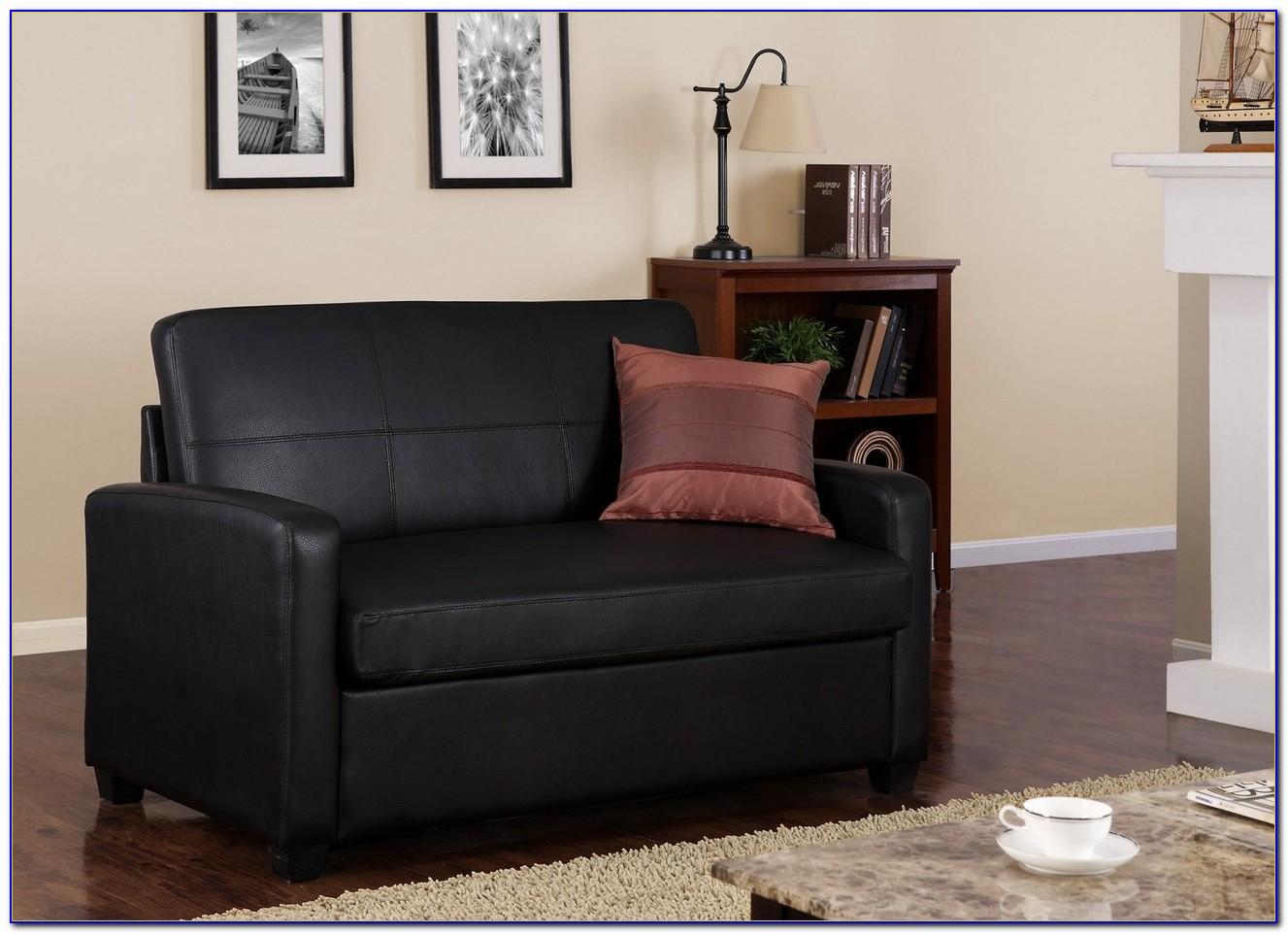 Black Leather Modern Sectional Sofa Sleeper With Ottoman