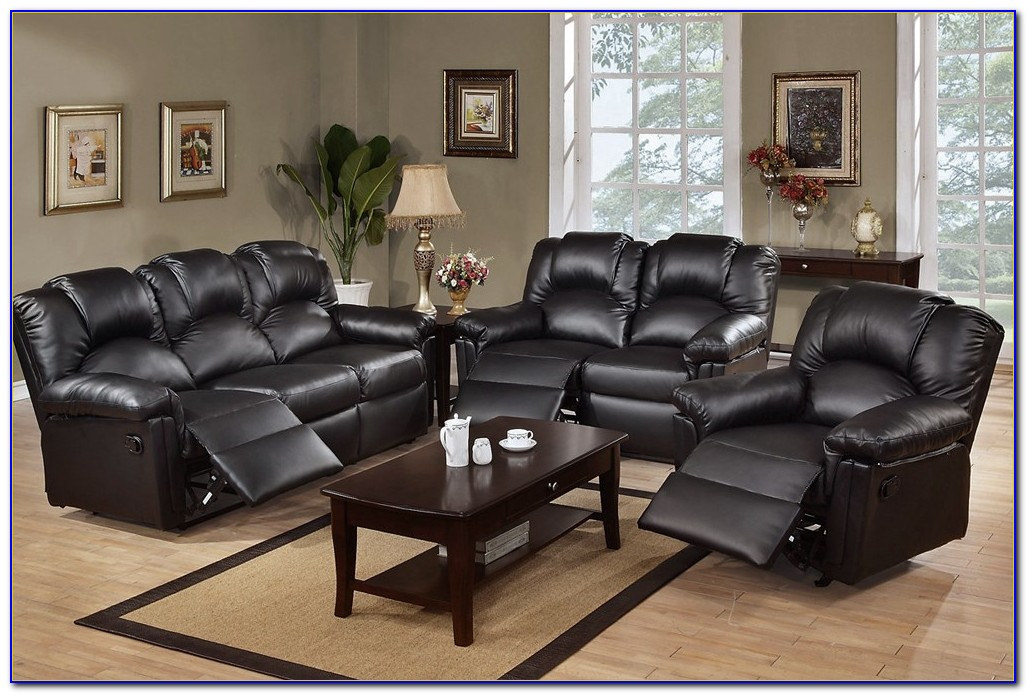 Black Leather Recliner Sofa Used