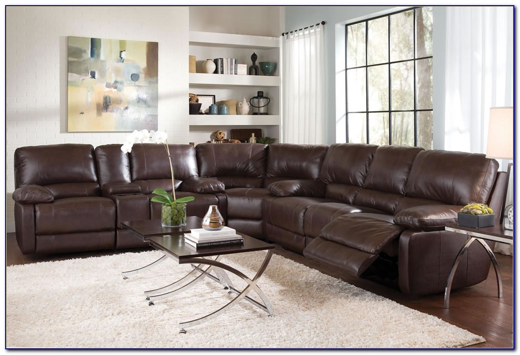 Brown Leather Sectional Reclining Sofa