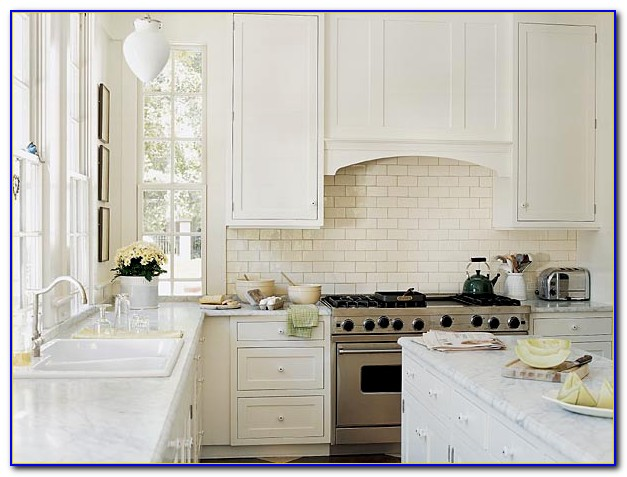 Carrara Marble Subway Tile Kitchen Backsplash