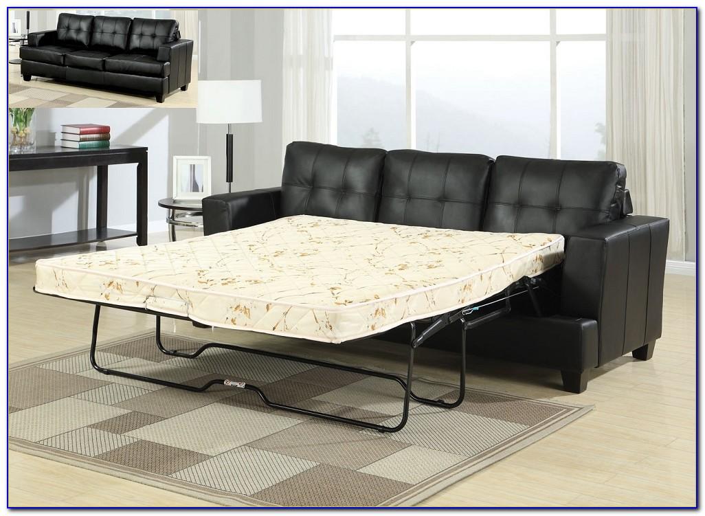 Elegant Modern Black Leather Sectional Sleeper Sofa