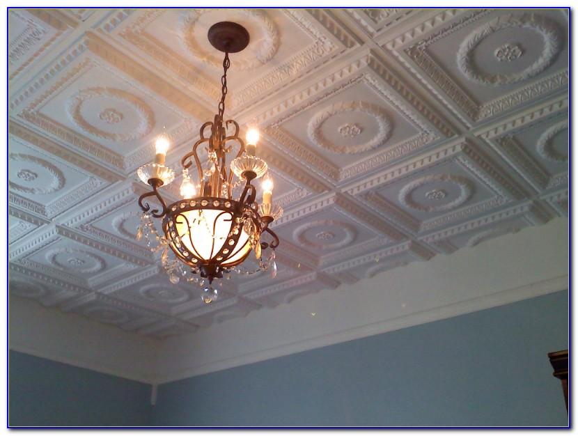 Faux Tin Ceiling Tiles Glue Up
