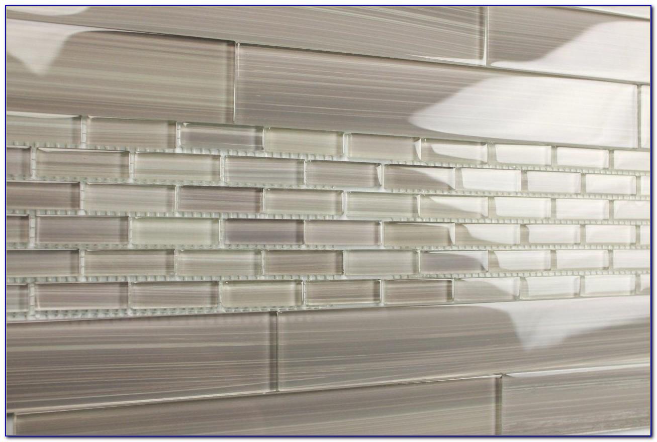 Grey Glass Subway Tile Backsplash