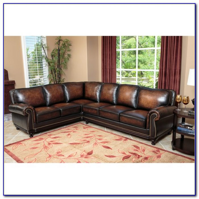 Modern Top Grain Leather Sectional Sofa
