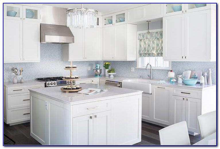 Mosaic Tile Backsplash White Cabinets