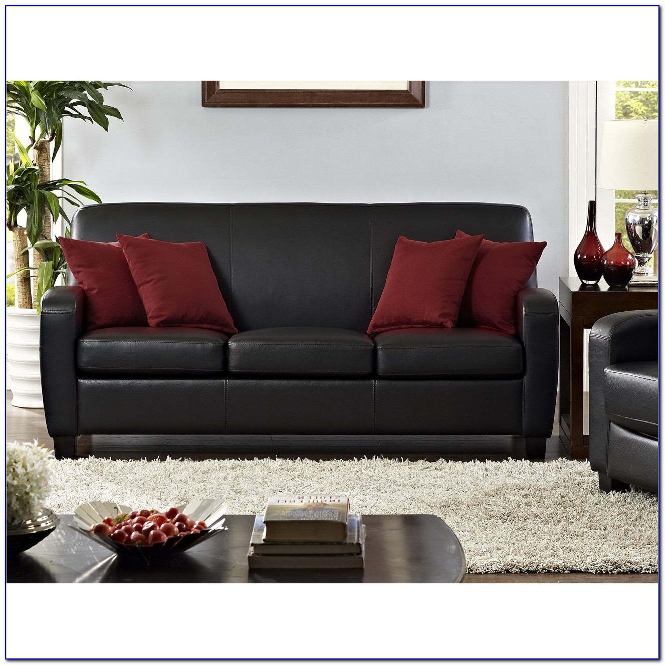 Red Faux Leather Sectional Sofa