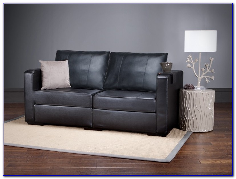 Simmons Black Leather Sofa And Loveseat