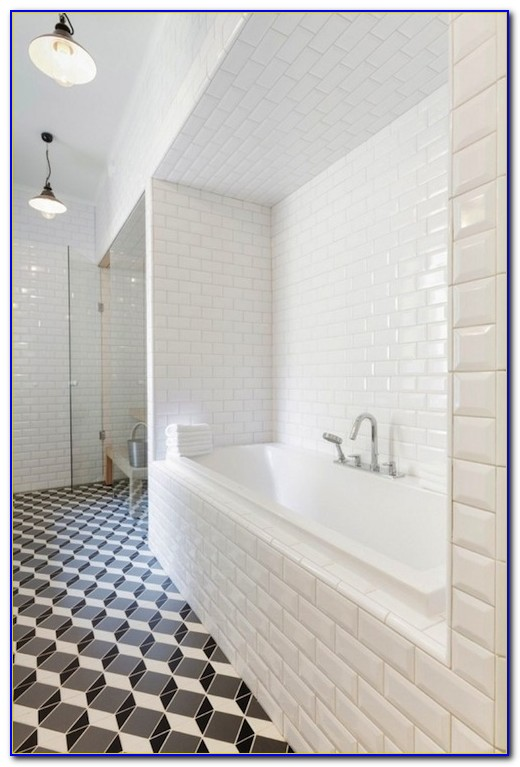 White Beveled Subway Tile Grey Grout