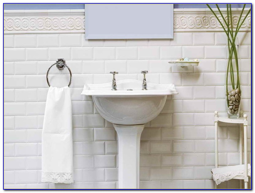 White Beveled Subway Tile Shower